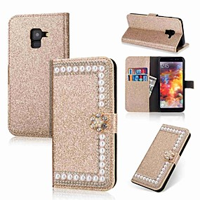 voordelige Galaxy A3(2016) Hoesjes / covers-hoesje Voor Samsung Galaxy A5(2018) / A3 (2017) / A5 (2017) Portemonnee / Kaarthouder / Strass Volledig hoesje Glitterglans / Bloem Hard PU-nahka