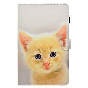 voordelige Galaxy Tab E 9.6 Hoesjes / covers-hoesje Voor Samsung Galaxy Tab E 9.6 / Tab E 8.0 / Tab A 9.7 Kaarthouder / met standaard / Flip Volledig hoesje Kat Hard PU-nahka