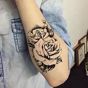 billige Midlertidige tatoveringer-5 pcs Tatoveringsklistremerker midlertidige Tatoveringer Blomster Serier kropps~~POS=TRUNC arm