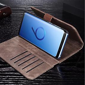 olcso Galaxy S tokok-Case Kompatibilitás Samsung Galaxy S9 Plus / S9 Pénztárca / Kártyatartó / Flip Héjtok Egyszínű Kemény PU bőr mert S9 / S9 Plus / S8 Plus