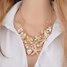 levne Vrstvené náhrdelníky-Dámské Náhrdelníky s přívěšky Vícevrstvé Mořská hvězdice Mušle dámy Klasické Napodobenina perel Ulity Mušle Zlatá 46+5 cm Náhrdelníky Šperky 1ks Pro Bikini