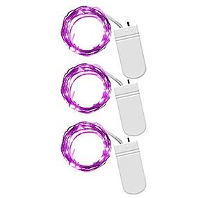 baratos Casa & Cozinha-3 pcs luzes de fadas 1 m 10led decoração da festa de casamento levou corda de cobre de natal luz cr2032 bateria operado