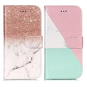 voordelige Galaxy S7 Hoesjes / covers-hoesje Voor Samsung Galaxy S9 / S9 Plus / S8 Portemonnee / Kaarthouder / met standaard Volledig hoesje Marmer Hard PU-nahka