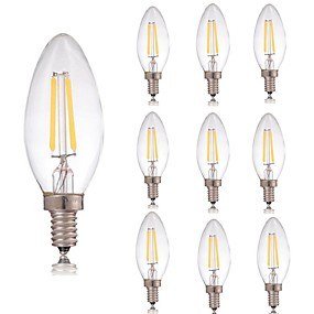 Χαμηλού Κόστους Λαμπτήρες LED με νήμα πυράκτωσης-10pcs 2 W LED Λάμπες Πυράκτωσης 180 lm E14 C35 2 LED χάντρες COB Διακοσμητικό Θερμό Λευκό Ψυχρό Λευκό 220-240 V / RoHs