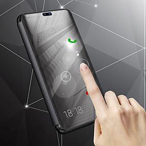 voordelige Mobiele telefoonhoesjes-hoesje Voor Samsung Galaxy J8 / J6 met standaard / Beplating / Spiegel Volledig hoesje Effen Hard PU-nahka voor J8 / J7 Duo / J6