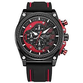 Недорогие Фирменные часы-MEGIR Муж. Спортивные часы Японский Кварцевый силиконовый Черный 30 m Защита от влаги Календарь Секундомер Аналоговый На каждый день Мода - Серебряный Желтый Красный / Фосфоресцирующий