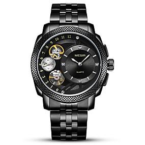 Недорогие Фирменные часы-MEGIR Муж. Спортивные часы Нарядные часы Японский Кварцевый Нержавеющая сталь Черный / Серебристый металл 30 m Защита от влаги Секундомер С гравировкой Аналоговый Роскошь Классика Мода -