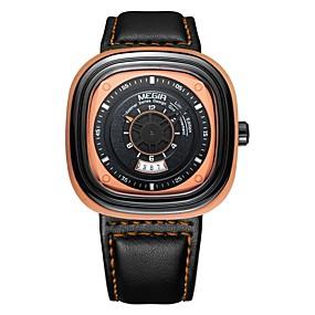 Недорогие Фирменные часы-MEGIR Муж. Спортивные часы Японский Кварцевый Кожа Черный 30 m Защита от влаги Календарь Cool Аналоговый На каждый день Мода - Черный Оранжевый Синий