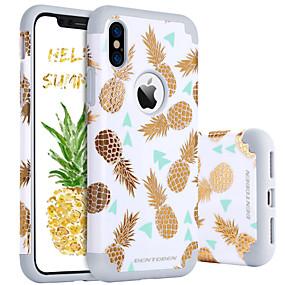 abordables Coques d'iPhone-BENTOBEN Coque Pour Apple iPhone X / iPhone XS Antichoc / Motif Coque Nourriture / Fruit Dur PC / Le gel de silice pour iPhone XS / iPhone X