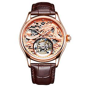 voordelige Merk Horloge-Angela Bos Heren Skeleton horloge mechanische horloges Handmatig opwindmechanisme Echt leer Zwart / Bruin 30 m Waterbestendig Hol Gegraveerd Nieuw Design Analoog Luxe Modieus - Goud Zilver Goud Rose