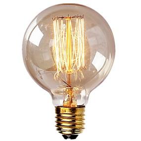 Χαμηλού Κόστους Λαμπτήρες πυράκτωσης-1pc βολβοί vintage edison με σπειροειδές νήμα 40w dimmable e27 g95 στρογγυλό σφαίρα μεγάλο αντίκα φως χρυσό φινίρισμα βιομηχανικό σχέδιο κεχριμπαρένιο