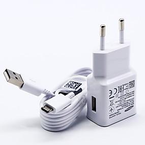 billige Lader med kabel-Stasjonær lader USB-lader Us Plugg / Eu Plugg med kabel / Lader Kitt 1 USB-port 2 A 100~240 V til S7 Active / S7 edge / S7