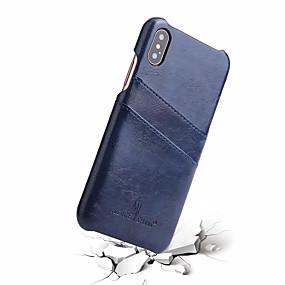 olcso iPhone tokok-Fierre Shann Case Kompatibilitás Apple iPhone X Kártyatartó Fekete tok Egyszínű Kemény Valódi bőr mert iPhone X