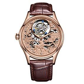 voordelige Merk Horloge-AngelaBOS Heren Skeleton horloge mechanische horloges Handmatig opwindmechanisme Roestvrij staal Zwart / Bruin 30 m Waterbestendig Hol Gegraveerd Nieuw Design Analoog Luxe Modieus - Goud Zilver Goud