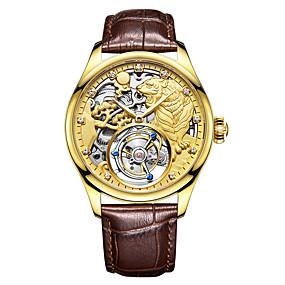 voordelige Merk Horloge-AngelaBOS Heren Skeleton horloge mechanische horloges Handmatig opwindmechanisme Echt leer Zwart / Bruin Waterbestendig Hol Gegraveerd Creatief Analoog Luxe Modieus - Goud Zilver Goud Rose