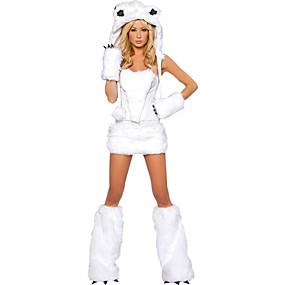 billige Daglige tilbud-Ulv Kvinder Sko Handsker Hatte Kostume Voksne Dame Halloween Jul Jul Halloween Karneval Festival / Højtider Terylene Polyester Hvid Karneval Kostume Dyr