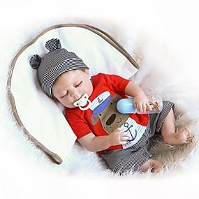 olcso Babák és töltött játékok-NPKCOLLECTION NPK DOLL Reborn Dolls Fiú babák 18 hüvelyk Teljes test szilikon Vinil - Újszülött Ajándék Bájos Gyerek Fiú Játékok Ajándék
