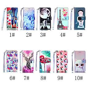 voordelige Galaxy J3 Hoesjes / covers-hoesje Voor Samsung Galaxy J8 (2018) / J7 (2017) / J7 (2018) Portemonnee / Kaarthouder / met standaard Volledig hoesje Kat / Hond / Flamingo Hard PU-nahka