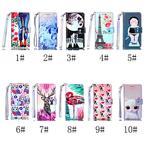 voordelige Galaxy S7 Hoesjes / covers-hoesje Voor Samsung Galaxy S9 / S9 Plus / S8 Plus Portemonnee / Kaarthouder / met standaard Volledig hoesje Kat / Hond / Flamingo Hard PU-nahka