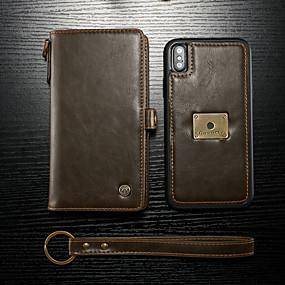 abordables CaseMe®-CaseMe Coque Pour Apple iPhone XS Max Portefeuille / Porte Carte / Clapet Coque Intégrale Couleur Pleine Dur faux cuir pour iPhone XS Max