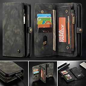 billige CaseMe®-taske til Apple iPhone xr xs xs max tegnebog kortholder med stativ tasker solid farvet hårdt pu læder til iphone x 8 8 plus 7 7plus 6s 6s plus se 5 5s