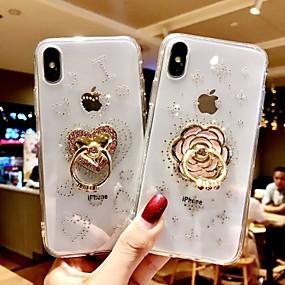 levne Pouzdra iPhone XS-Carcasă Pro Apple iPhone XS Max / iPhone 6 Nárazuvzdorné / se stojánkem Zadní kryt Třpytivý Měkké Silica gel pro iPhone XS / iPhone XR / iPhone XS Max