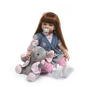 olcso Babák és töltött játékok-NPKCOLLECTION NPK DOLL Reborn Dolls Lány babák 24 hüvelyk Vinil - élethű Ajándék Mesterséges beültetés barna szemek Gyerek Lány Játékok Ajándék
