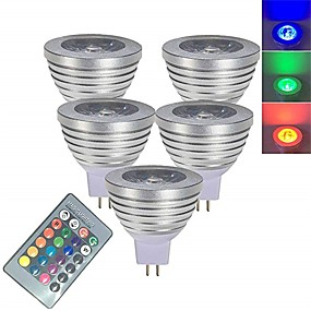 levne LED Smart žárovky-5pcs 3 W LED bodovky LED chytré žárovky 250 lm MR16 1 LED korálky SMD 5050 Smart Stmívatelné Dálkové ovládání RGBW 12 V / RoHs