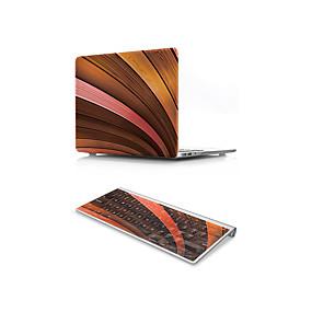 "billige Mac-etuier, Mac-tasker og Mac-covers-MacBook Case with Protectors Imiteret træ PVC for Ny MacBook Pro 15"" / New MacBook Air 13"" 2018"