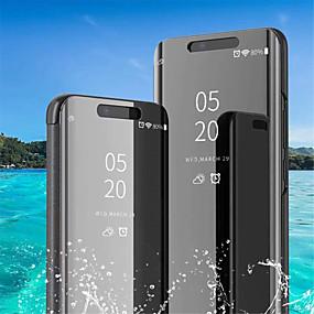 voordelige Galaxy S6 Edge Plus Hoesjes / covers-hoesje Voor Samsung Galaxy S9 / S9 Plus / S8 Plus met standaard / Beplating / Spiegel Volledig hoesje Effen Zacht PU-nahka