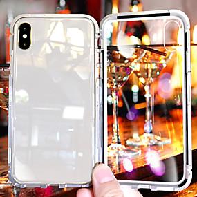 levne iPhone pouzdra-Carcasă Pro Apple iPhone X / iPhone 8 / iPhone 8 Plus Nárazuvzdorné / Průhledné Zadní kryt Průhledný Pevné Tvrzené sklo / Hliník pro iPhone XS / iPhone XR / iPhone XS Max