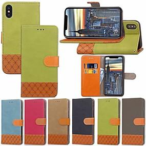 halpa iPhone 5S / SE kotelot-Etui Käyttötarkoitus Apple iPhone XR / iPhone XS Max Korttikotelo / Tuella / Flip Suojakuori Yhtenäinen / Geometrinen printti Kova tekstiili varten iPhone XS / iPhone XR / iPhone XS Max