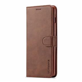 Недорогие Рекомендуемые-Кейс для Назначение SSamsung Galaxy Galaxy S10 / Galaxy S10 Plus Бумажник для карт / со стендом / Магнитный Чехол Однотонный Твердый Кожа PU для S9 / S9 Plus / S8 Plus