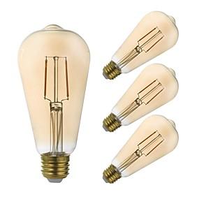 Χαμηλού Κόστους Λαμπτήρες LED με νήμα πυράκτωσης-GMY® 4pcs 2.5 W LED Λάμπες Πυράκτωσης 180 lm E26 / E27 ST21 2 LED χάντρες COB Με ροοστάτη Διακοσμητικό Κεχριμπάρι 110-130 V