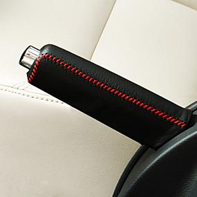 economico Interni auto fai-da-te-universally nero rosso auto auto cambio marcia freno a mano copertura del freno griglia copertura di abbigliamento in pelle