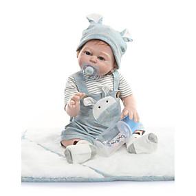 olcso Babák és töltött játékok-NPKCOLLECTION Reborn Dolls Baba 22 hüvelyk Teljes test szilikon Vinil - Bájos Új design Mesterséges beültetés kék szemek Gyerek Uniszex Játékok Ajándék