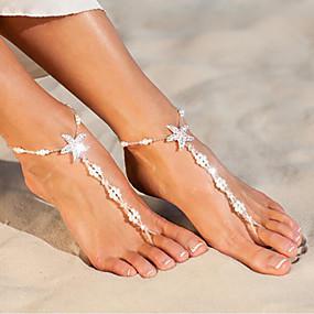 billige Smykker & Ure-Dame Barfodssandaler Imiteret Perle Stjerne Sød Stil Ankel Smykker Hvid Til Daglig