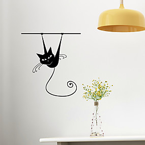 cheap Decoration Stickers-Cartoon Cat Removable PVC Wall Stickers - Plane Wall Stickers Transportation / Landscape Study Room / Office / Dining Room / Kitchen