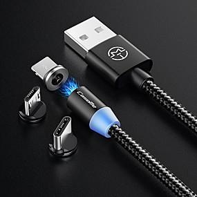 halpa Google-C-tyypin Kaapeli 1,0 (3ft) Punottu / Magnetic / LED Nylon USB-kaapelisovitin Käyttötarkoitus Macbook / Samsung / Huawei