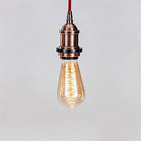 Χαμηλού Κόστους Λαμπτήρες LED με νήμα πυράκτωσης-1pc 4 W LED Λάμπες Πυράκτωσης 300 lm E26 / E27 ST64 1 LED χάντρες COB Με ροοστάτη Διακοσμητικό Μαλακό νήμα Θερμό Λευκό 220-240 V