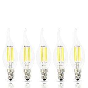 Χαμηλού Κόστους Λαμπτήρες LED με νήμα πυράκτωσης-5pcs λάμπα λαμπτήρα πυρακτώσεως 4w e14 λάμπα λαμπτήρων edison c35 vintage λάμπα λαμπτήρα κεριού edison μαλακό ζεστό λευκό 3000k λευκό 6000k 400lm (ισοδύναμο 45 watt) ac 220-240v