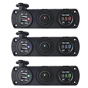 voordelige Autoladers-dc12v 3.1a autolader drie-gats paneel met dubbele usb-poort schakelaar spanningsmeter stroomadapters stopcontact