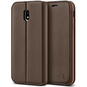 voordelige Galaxy J3(2017) Hoesjes / covers-hoesje Voor Samsung Galaxy J3 (2017) Schokbestendig / met standaard Volledig hoesje Effen Hard PU-nahka