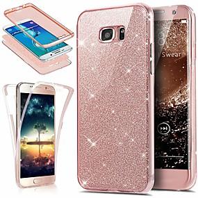 voordelige Galaxy S6 Edge Plus Hoesjes / covers-hoesje Voor Samsung Galaxy S6 edge plus Stofbestendig / Doorzichtig / Glitterglans Volledig hoesje Glitterglans Zacht TPU / silica Gel
