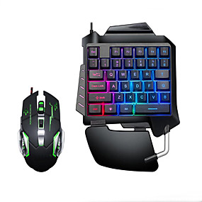 cheap Mouse Keyboard Combo-LITBest USB Wired Single Handed Gaming Keyboard Backlit Illuminous Keys with Wrist Breathing Lights Mouse Combos 2 Pieces a Kit