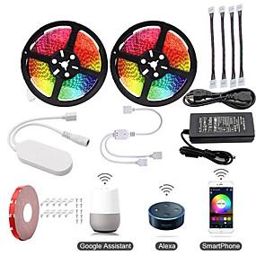 ieftine Benzi Lumină LED-KWB 2x5M Bare De Becuri LED Rigide / Fâșii RGB / Smart Lights 600 LED-uri SMD5050 1 Adaptor 12V 6A / 1Setați suportul de montare Multicolor Rezistent la apă / Controlul APP / Ce poate fi Tăiat