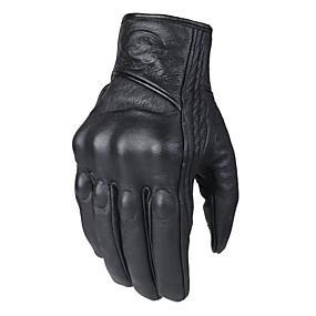Недорогие Мотоциклетные перчатки-Перчатки мотоцикла с сенсорным экраном для мужчин Зимняя езда Кожаные перчатки Осенний и зимний стиль Удлиненный стиль