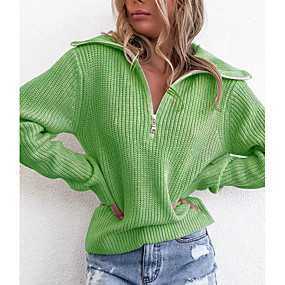 cheap Women's Sweaters-Women's Solid Colored Long Sleeve Slim Cardigan, Over-sized collar Blue / Green / Gray S / M / L