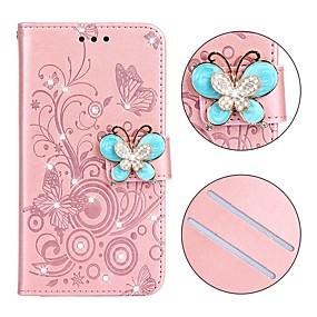 voordelige Huawei Honor hoesjes / covers-hoesje Voor Huawei Huawei Nova 3i / Huawei P20 lite / Huawei P30 Portemonnee / Kaarthouder / Strass Volledig hoesje Effen / Vlinder PU-nahka