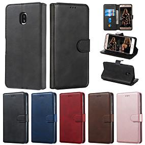 voordelige Galaxy J3 Hoesjes / covers-case voor samsung galaxy j4 2018 j6 2018 telefoon case pu leer materiaal effen kleur patroon telefoon case voor galaxy j7 2017 j5 2017 j3 2017 j710 j510 j310 j4 plus 2018 j6 plus 2018